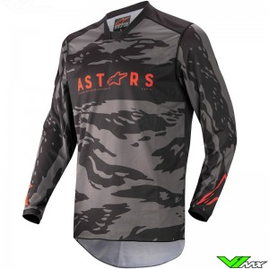 Alpinestars Racer Tactical 2022 Kinder Cross shirt - Zwart / Fluo Rood / Camo