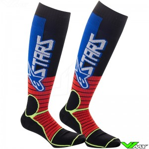 Alpinestars Pro MX Socks - Bright Red / Fluo Yellow / Blue