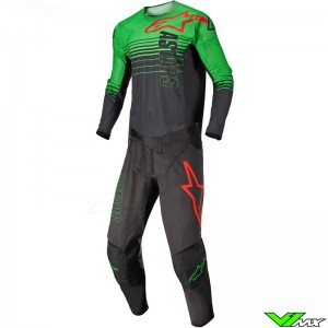 Alpinestars Techstar Phantom 2022 Motocross Gear Combo - Anthracite / Fluo Green