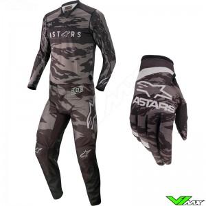 Alpinestars Racer Tactical 2022 Motocross Gear Combo - Black / Grey / Camo