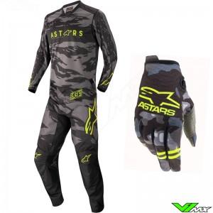 Alpinestars Racer Tactical 2022 Motocross Gear Combo - Black / Fluo Yellow / Camo