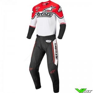 Alpinestars Racer Flagship 2022 Motocross Gear Combo - White / Fluo Red / Black