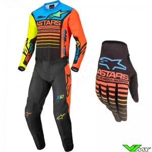Alpinestars Racer Compass 2022 Motocross Gear Combo - Fluo Yellow / Coral / Blue