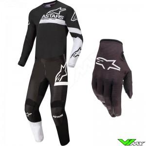 Alpinestars Fluid Chaser 2022 Motocross Gear Combo - Black / White