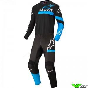 Alpinestars Fluid Chaser 2022 Motocross Gear Combo - Black / Fluo Blue