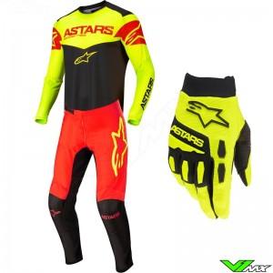 Alpinestars Fluid Tripple 2022 Motocross Gear Combo - Black / Fluo Yellow / Fluo Red