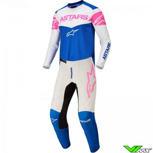 Alpinestars Fluid Tripple 2022 Motocross Gear Combo - Blue / Fluo Pink / White