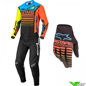 Alpinestars Racer Mini Compass 2022 Youth Motocross Gear Combo - Fluo Yellow / Coral / Blue