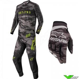 Alpinestars Racer Tactical 2022 Kinder Crosspak - Zwart / Fluo Geel / Camo