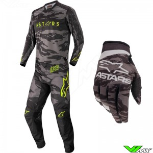 Alpinestars Racer Tactical 2022 Youth Motocross Gear Combo - Black / Fluo Yellow / Camo