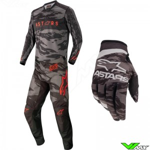 Alpinestars Racer Tactical 2022 Youth Motocross Gear Combo - Black / Fluo Red / Camo