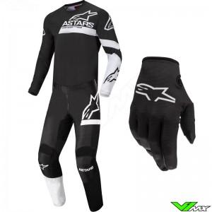 Alpinestars Racer Chaser 2022 Youth Motocross Gear Combo - Black / White