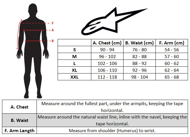 Alpinestars Bionic Body Protection Size chart