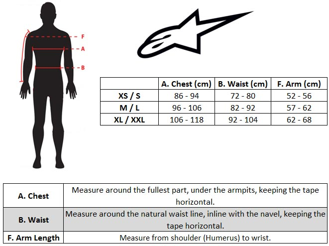 Alpinestars A1 / A4 / A10 Body Protector Size chart