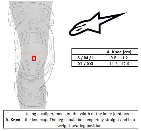 Alpinestars Kneebrace Size chart