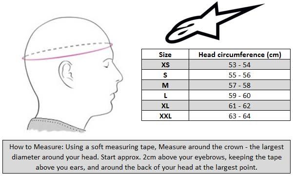 Alpinestars Supertech S-M10 MX Helmet Size Chart