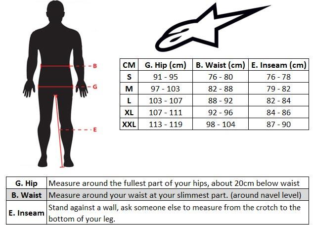 Alpinestars Bionic Freerie Short Size chart