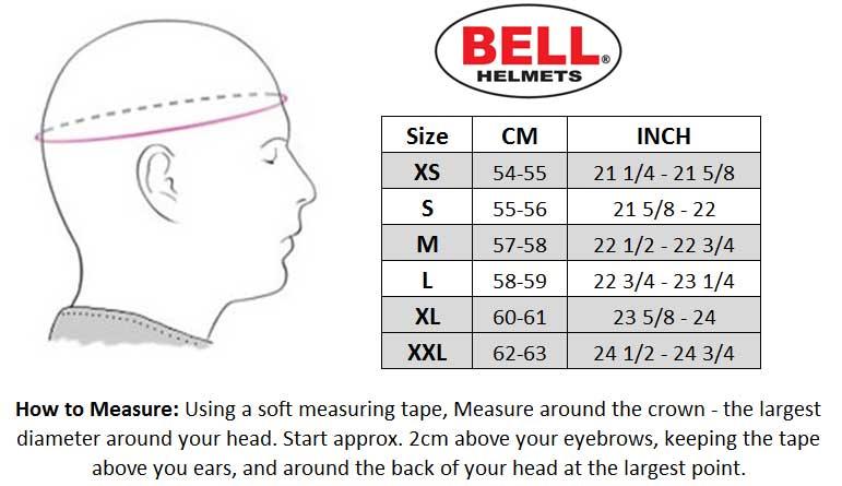 Bell 2017 Moto-9 Helmet size chart
