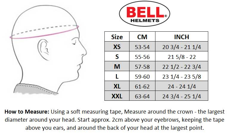 Bell 2018 MX-9 Helmet size chart