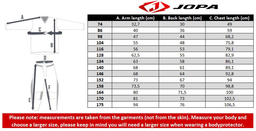 Jopa Youth Jersey Size chart