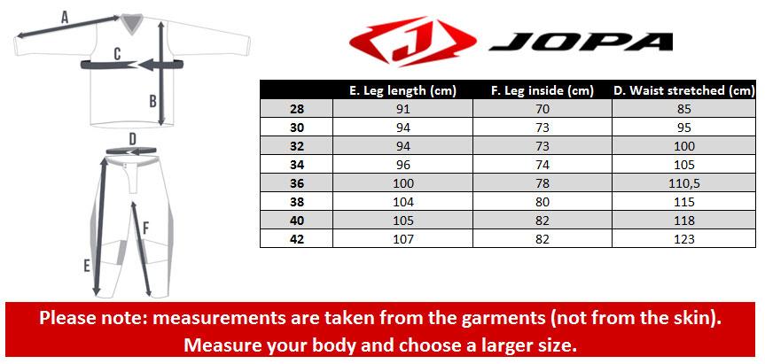 Jopa Pants Size chart