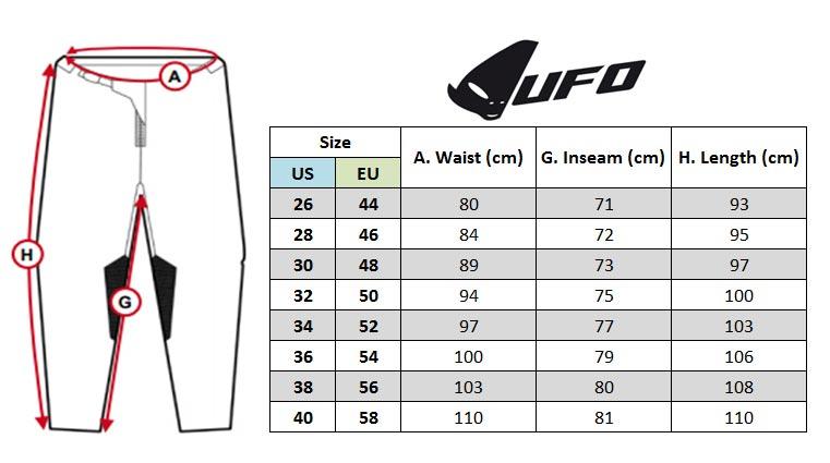 UFO MX Pants Size chart