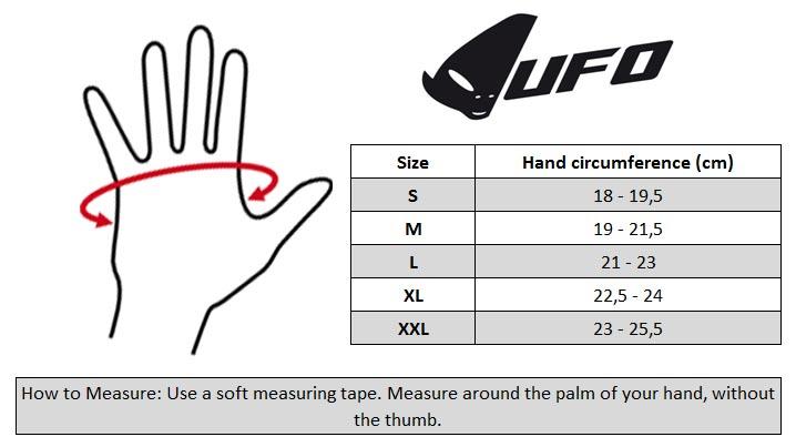 UFO MX Gloves Size chart