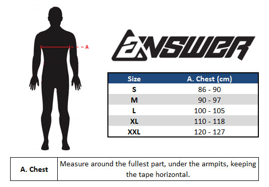 Answer Motocross Jersey Size Chart
