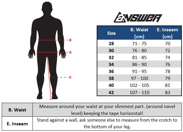 Answer Motocross Pants Size Chart