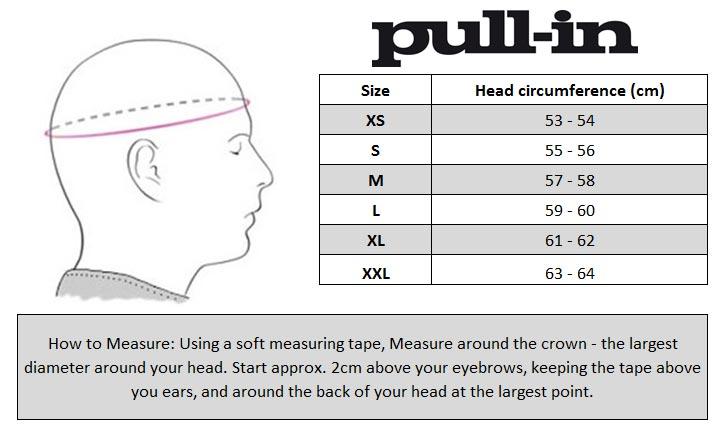 pull-in MX Helmet Size chart