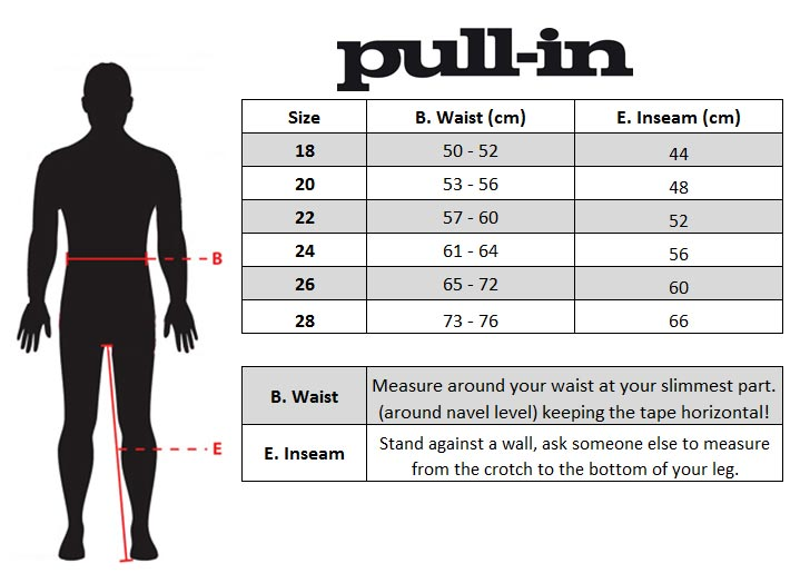 Youth MX Pants Size chart