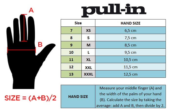 pull-in MX Gloves Size chart