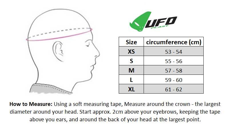 UFO 2017 Onyx Helmet size chart